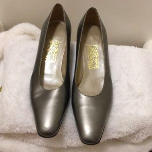 Salvatore Ferragamo size 10M, silver 2 ins heels